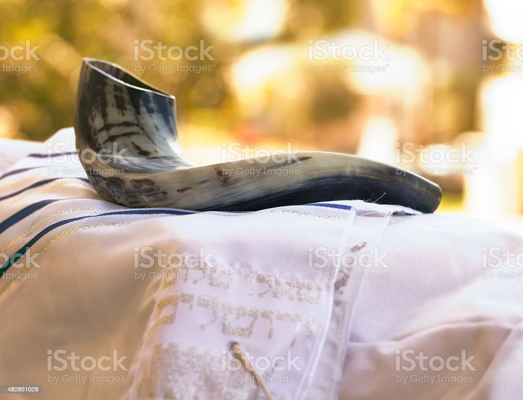 Shofar and Talit stock photo