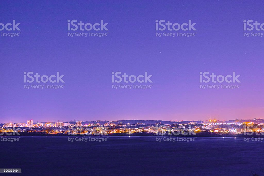 Shonan coast of night view seen from Enoshima stock photo