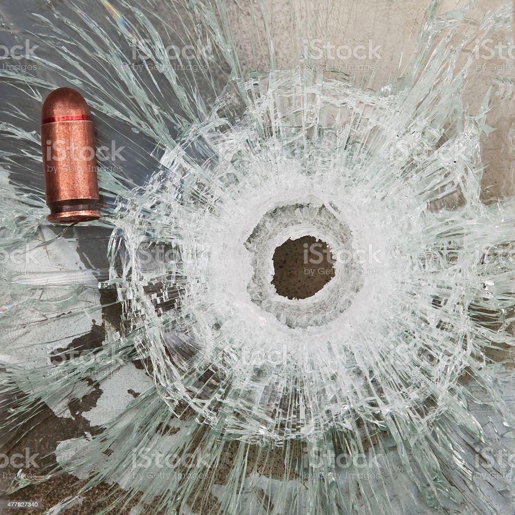 shoot through bulletproof glass stock photo