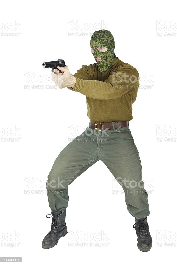 Shooter with a handgun royalty-free stock photo