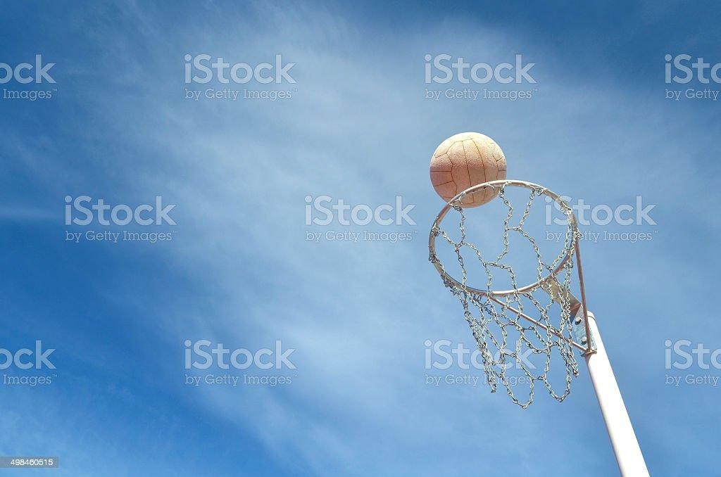 Shooting a Netball stock photo