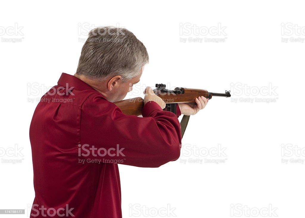 Shooting a Rifle stock photo