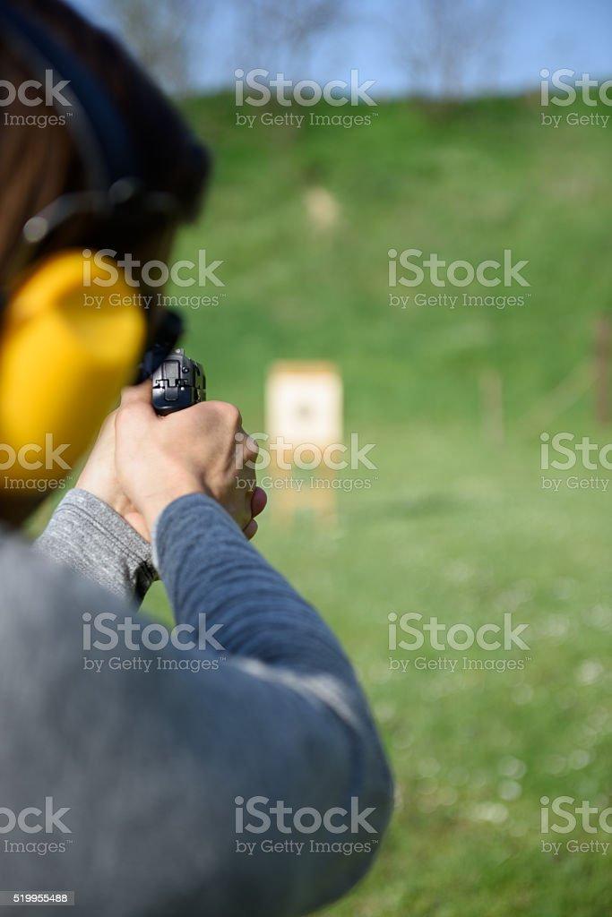 Shooting at a Gun Range stock photo