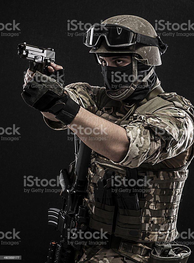 Shooting at someone stock photo