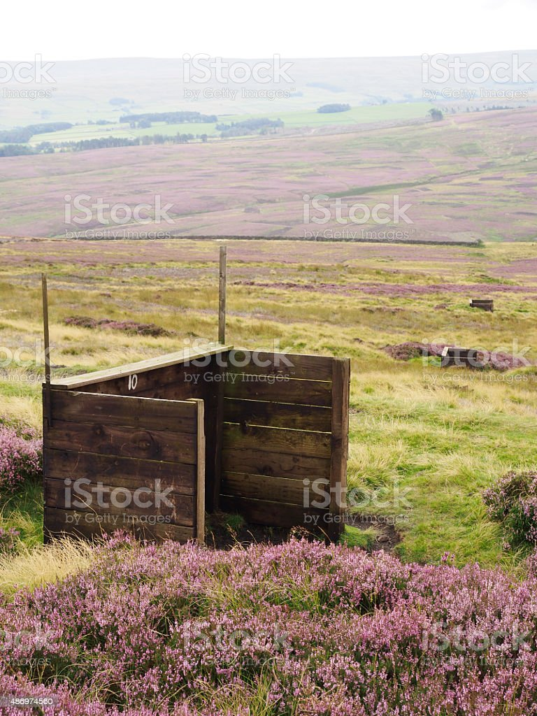Shooting Butts on a Grouse Moor in the Pennines stock photo