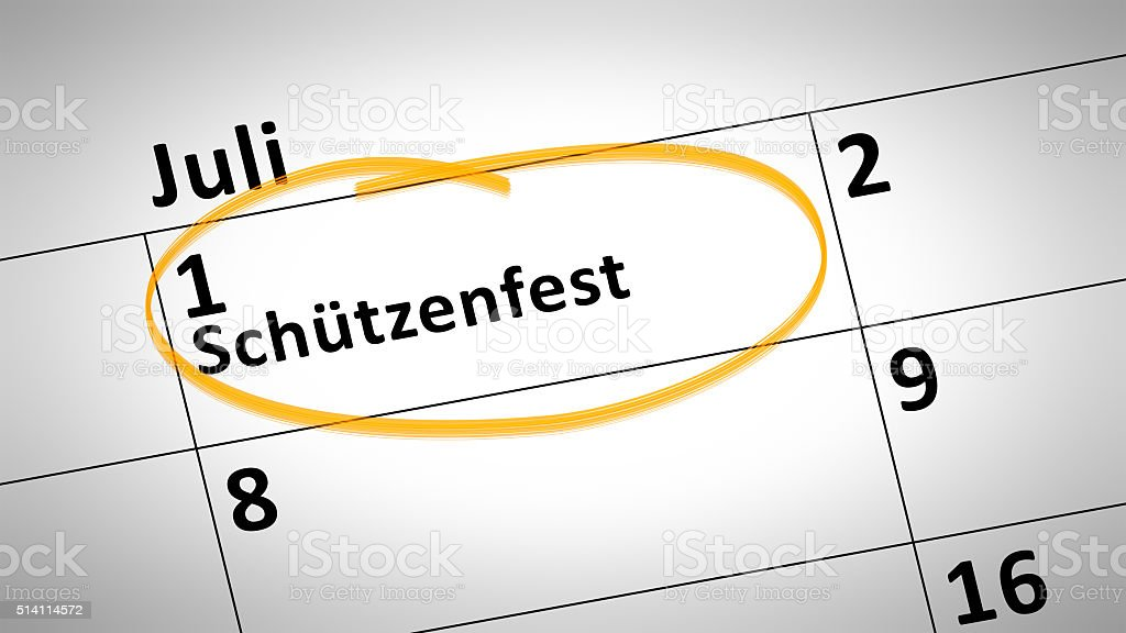 shooting festival first of July in german language stock photo