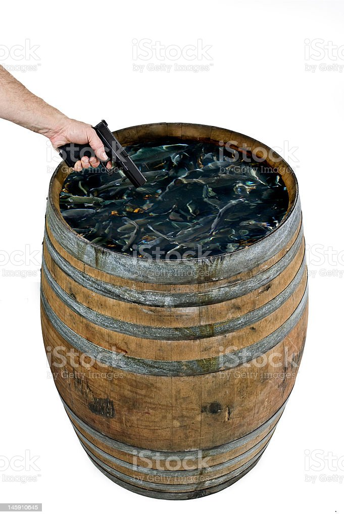 shooting fish in a barrel stock photo