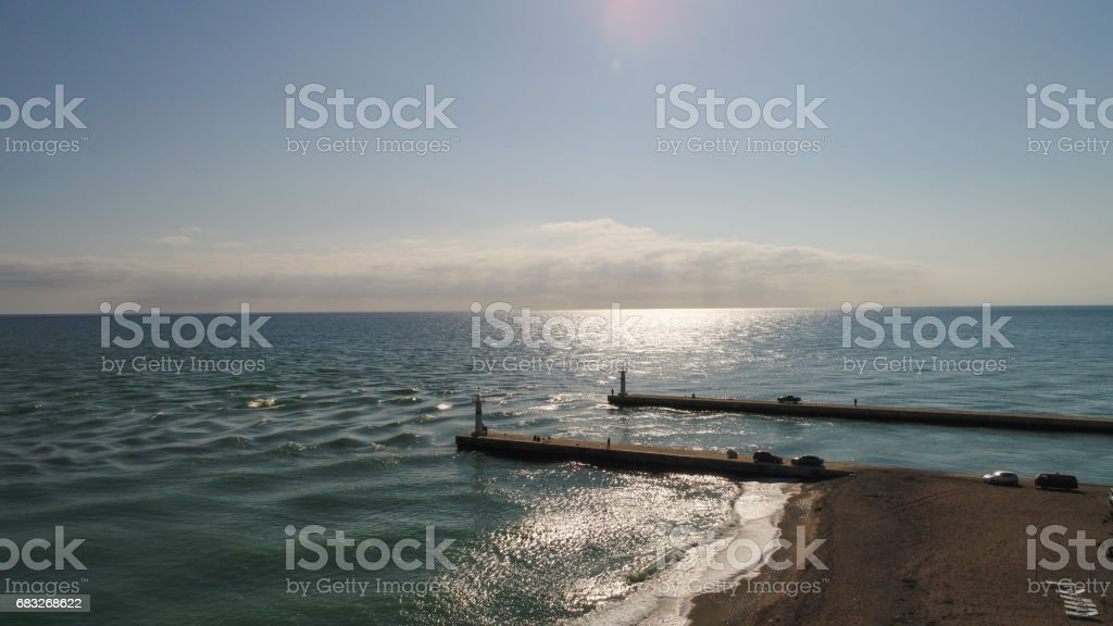 Shooting from the seaside. stock photo