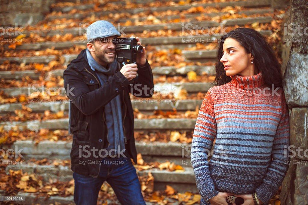 Shooting movie stock photo