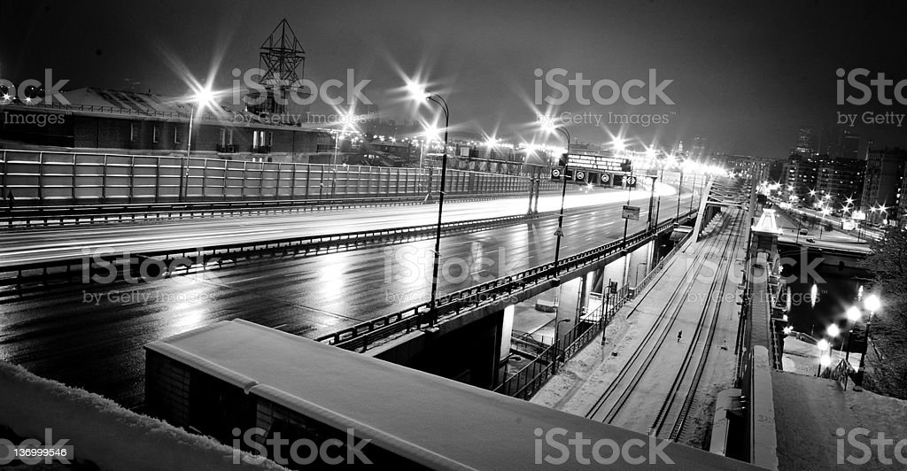 shooting night in Moscow royalty-free stock photo