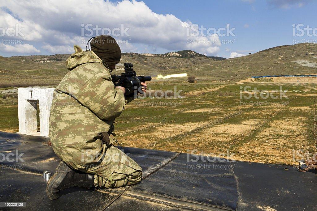 Shooting of 40mm. stock photo