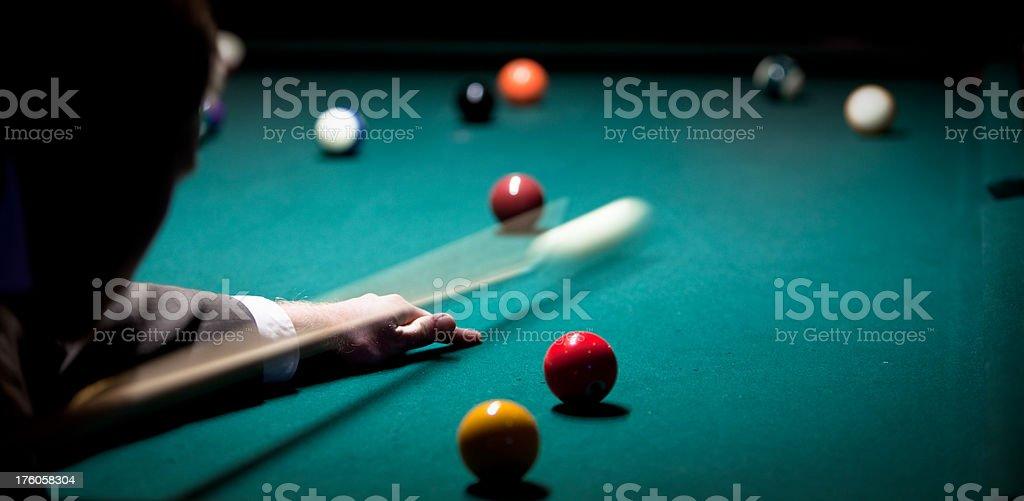 Shooting pool at a bar royalty-free stock photo