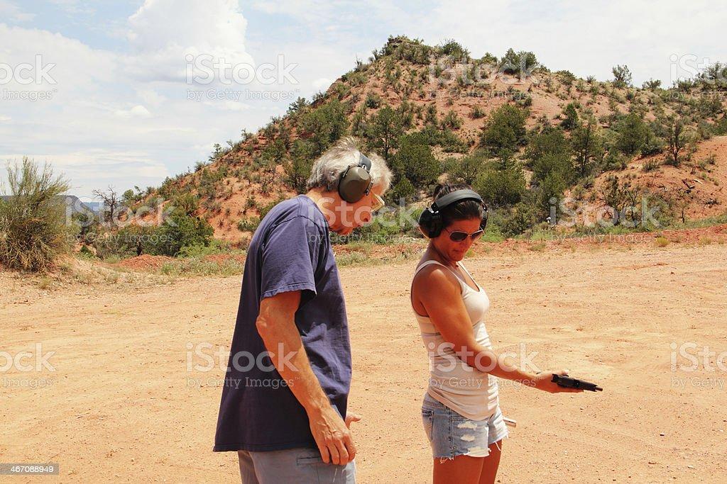Shooting Range Gun Instruction stock photo