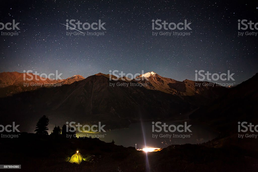 Shooting star at Mountain Lake stock photo