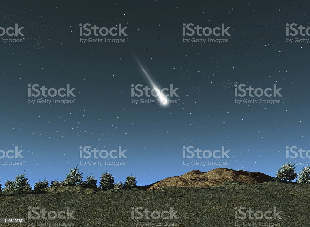 Shooting star coming down to earth quickly stock photo