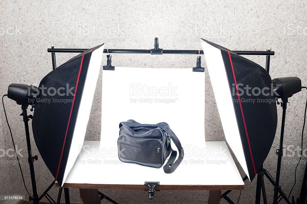 Shooting Table and studio lighting system stock photo