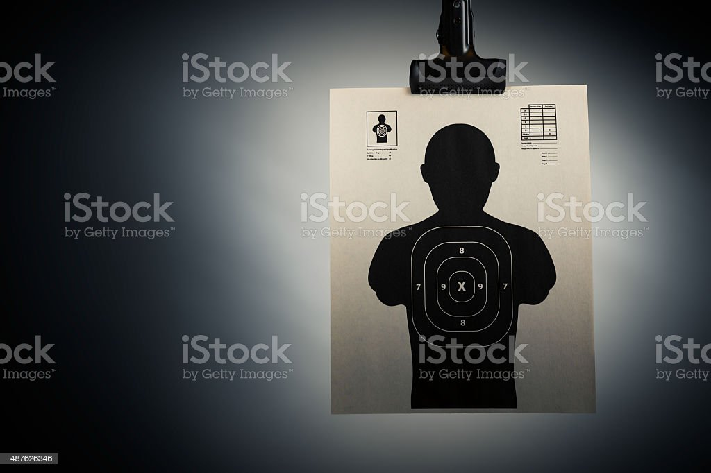 Shooting target on a grey background stock photo