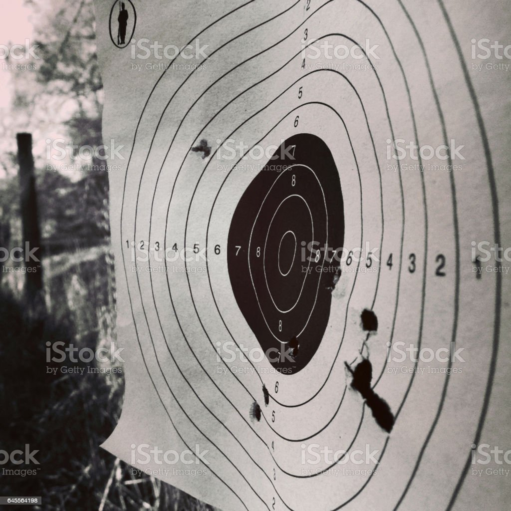 A shooting target with bullet holes in black and white