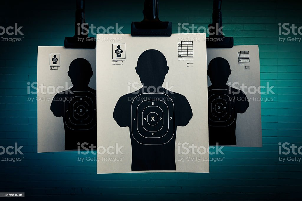 Shooting targets on a grey dark background stock photo