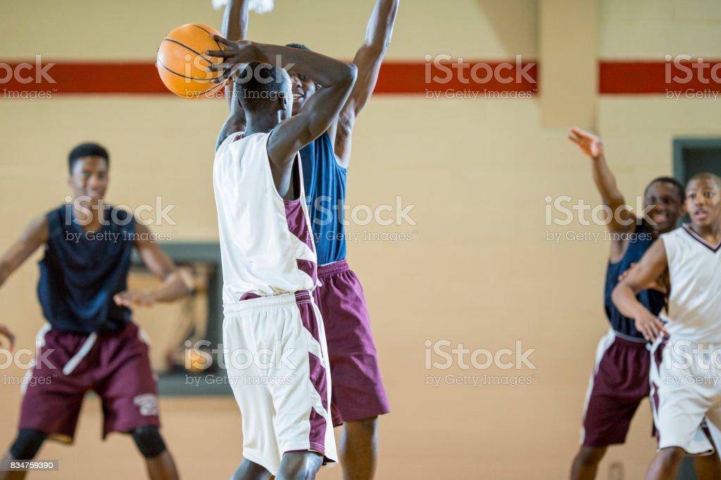 Shooting The Ball stock photo