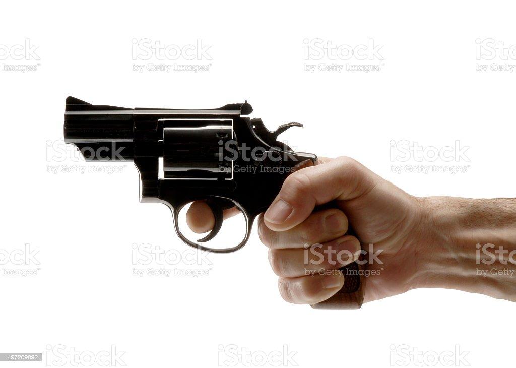 Shooting the gun. stock photo