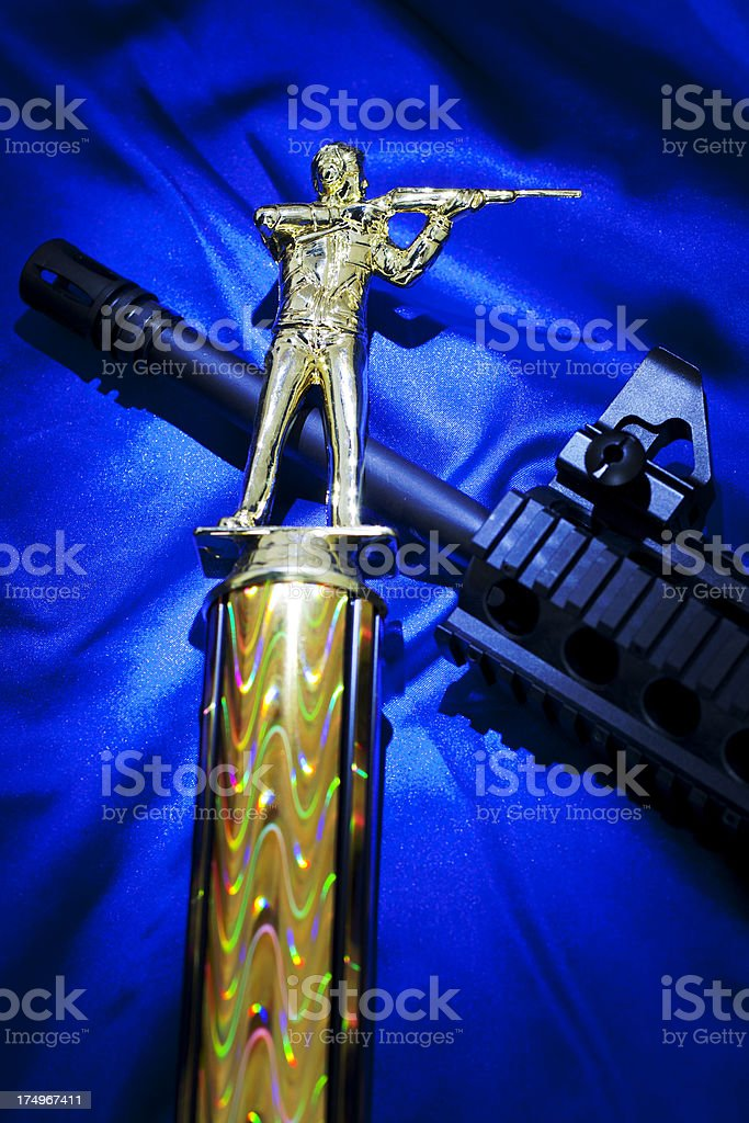 Shooting Trophy and Rifle royalty-free stock photo