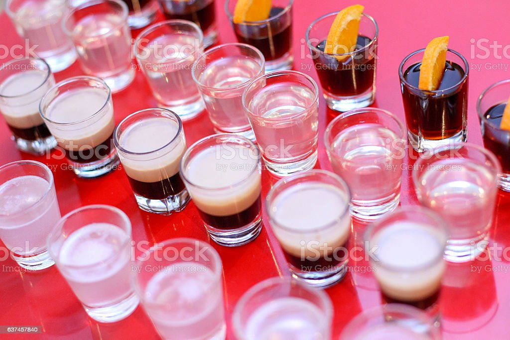 Shoots of vodka, B52, jagermeister, tequila stock photo