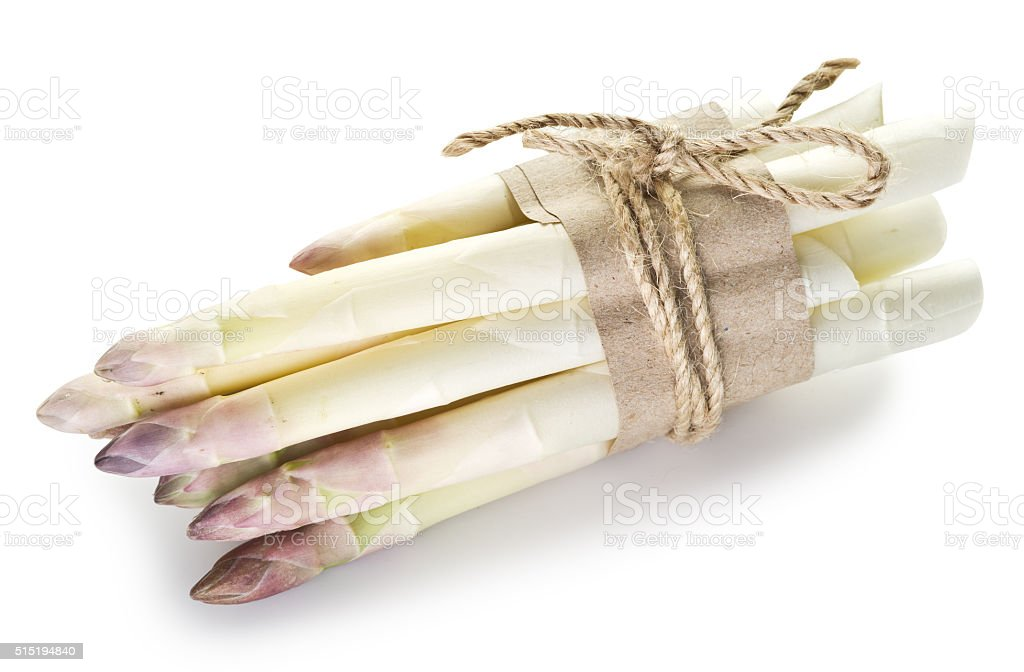 Shoots of white asparagus. stock photo