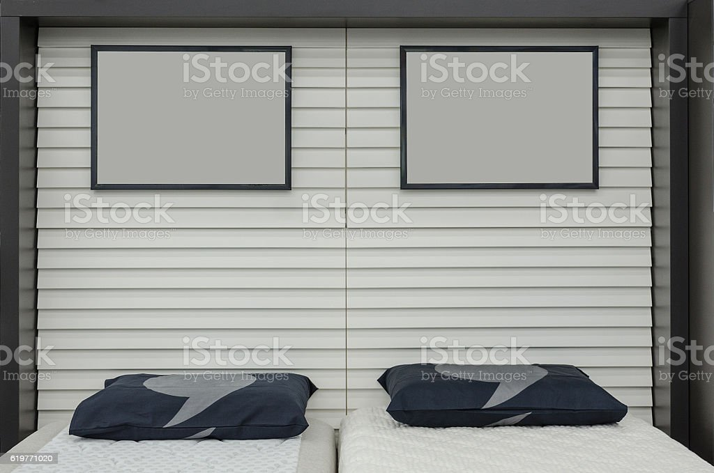 Shop beds and pillows stock photo