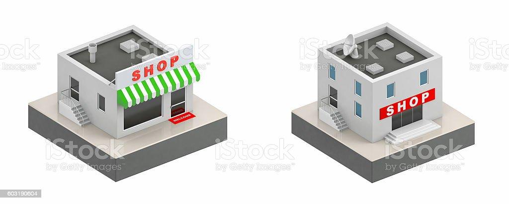Shop buildings - 3d icon stock photo