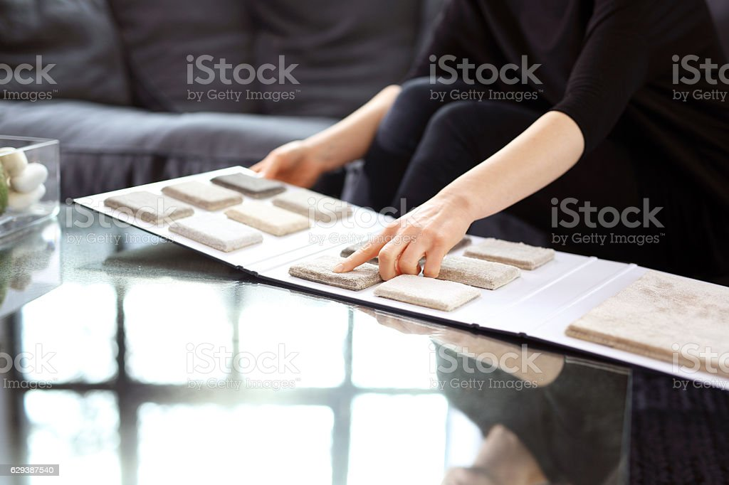 Shop carpets. Picker carpet. stock photo