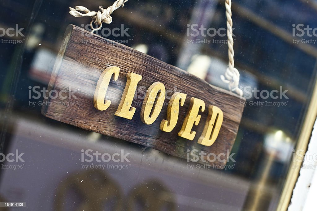 Shop Closed Sign in UK royalty-free stock photo
