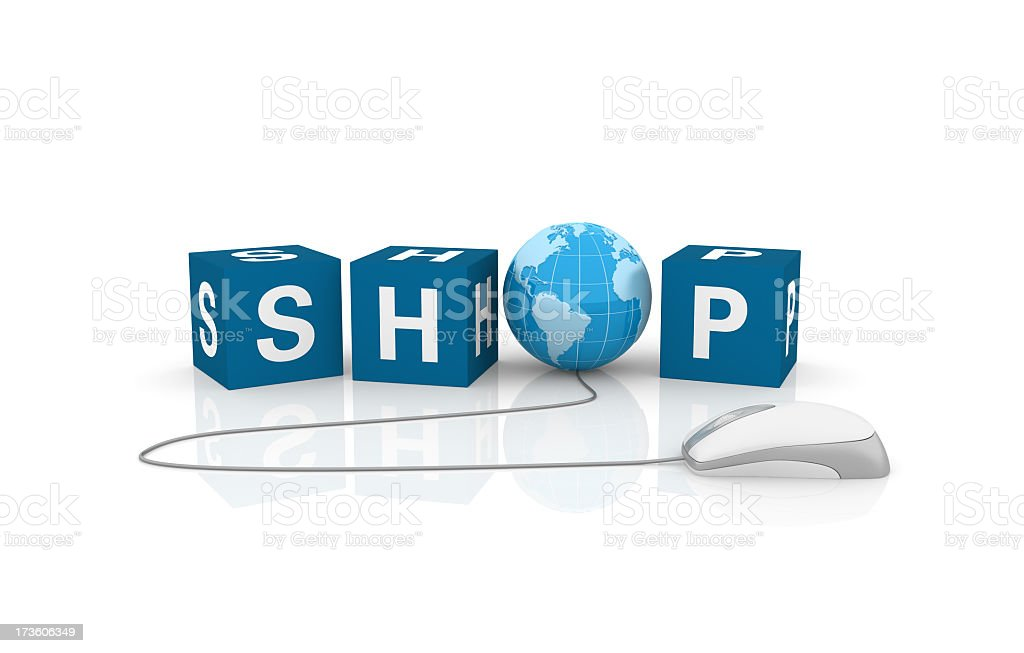 Shop Cubes with Earth Globe and Computer Mouse royalty-free stock photo