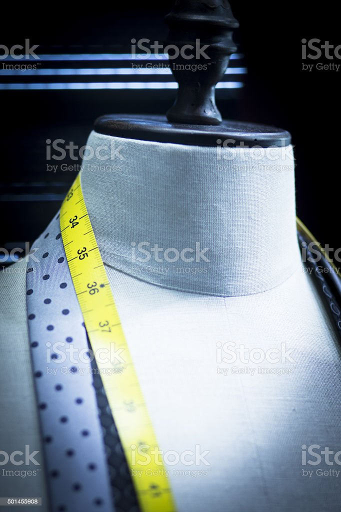 Shop fashion clothes store tape measure stock photo