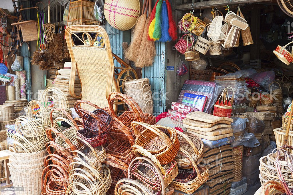 Shop for baskets stock photo