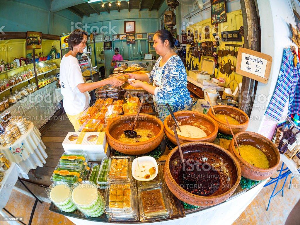 Shop in Amphawa Floating Market, Samut Songkhram, Thailand stock photo