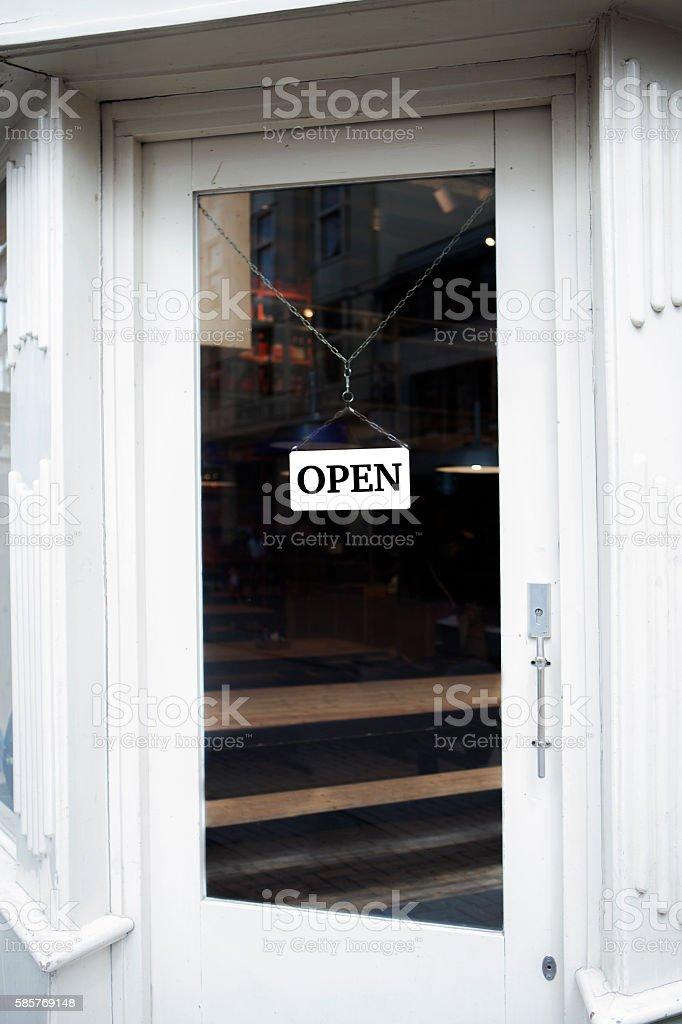 Shop open sign stock photo