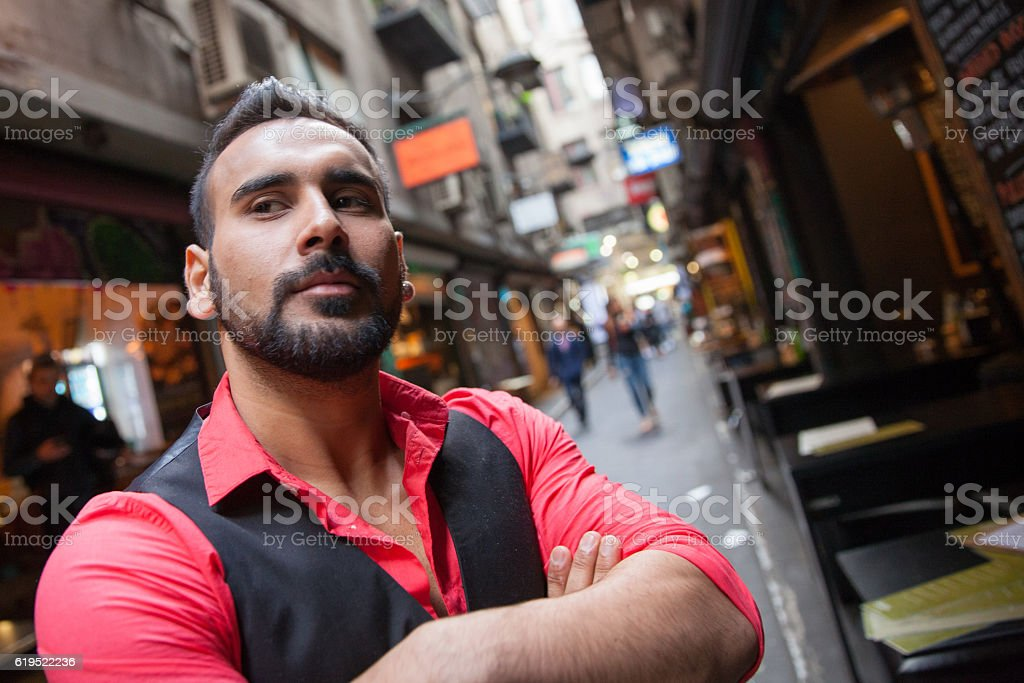 Shop Owner in Melbourne Laneway stock photo