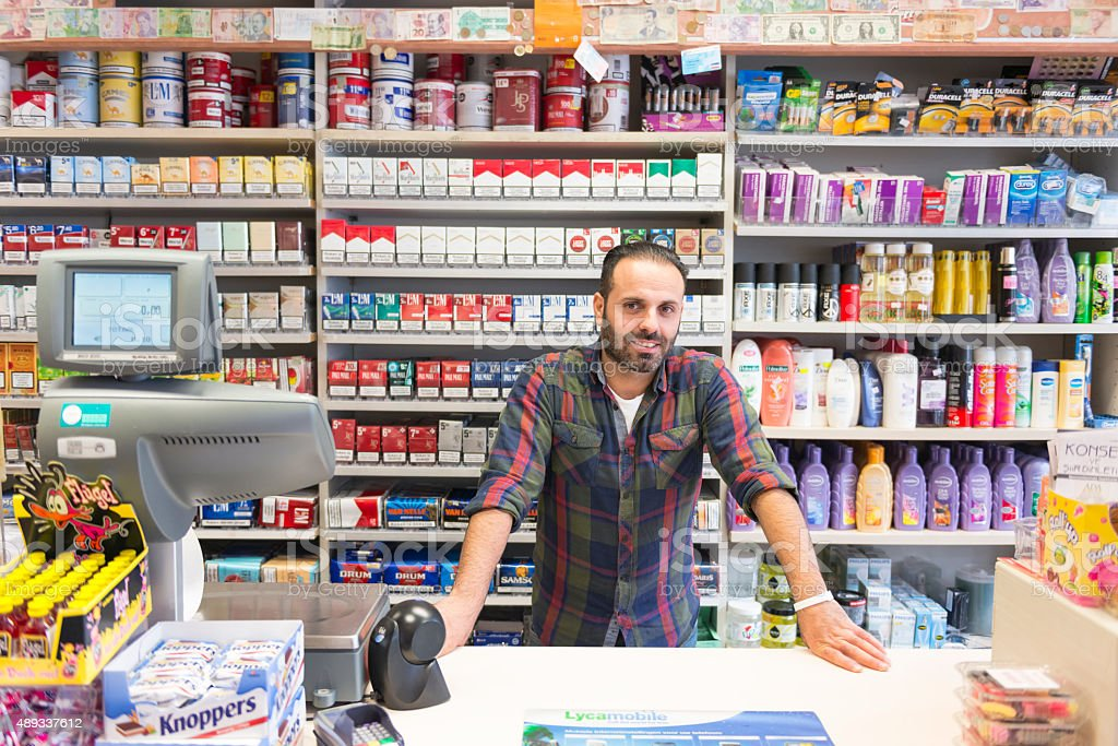 Shop owner portrait stock photo