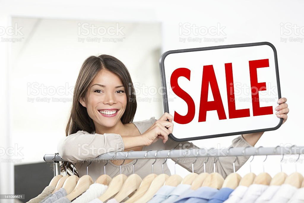 Shop owner sale sign royalty-free stock photo