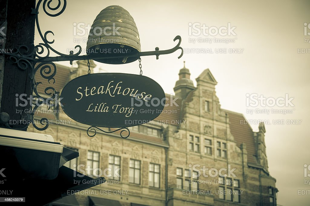 Shop sign in Lilla Torget, Malmo, Sweden royalty-free stock photo