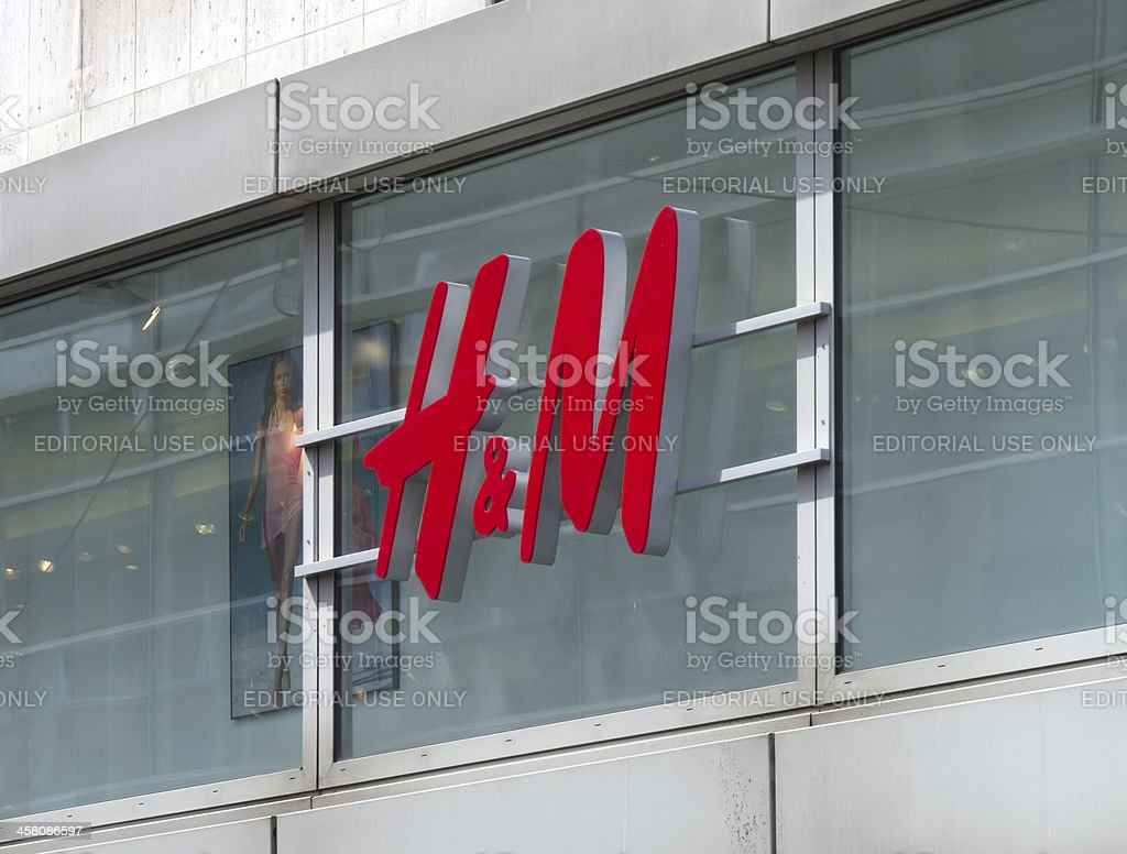 H&M shop sign stock photo
