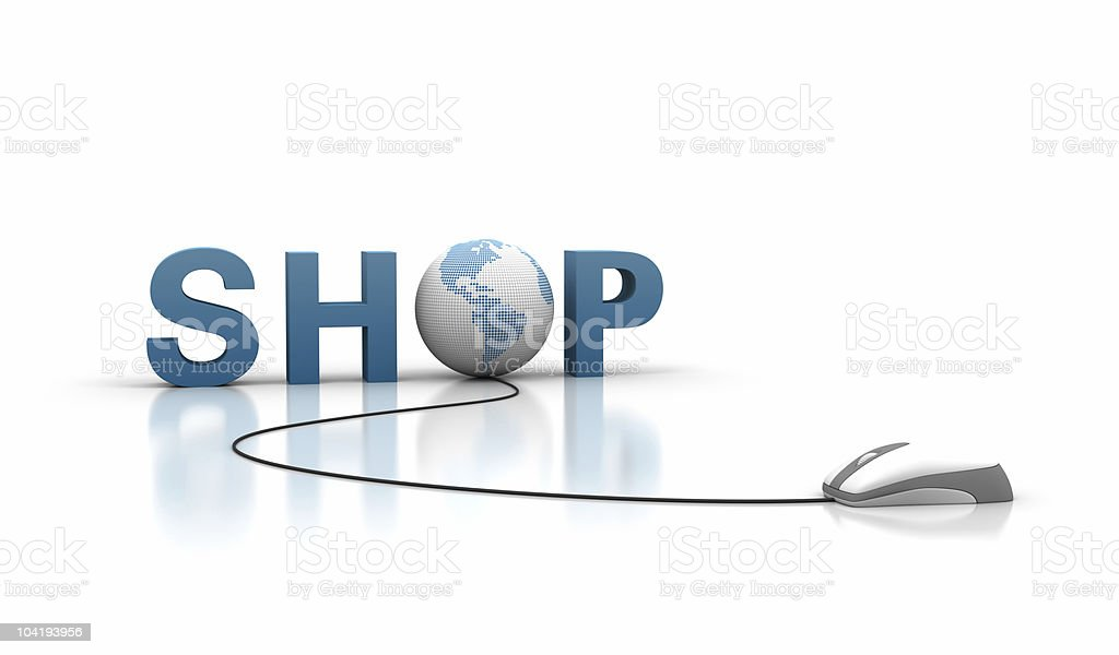Shop Text with Earth Globe and Computer Mouse royalty-free stock photo