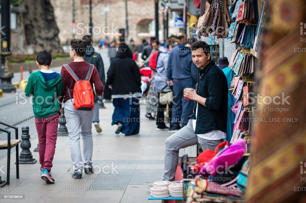 Shop vendor in Istanbul, Turkey stock photo