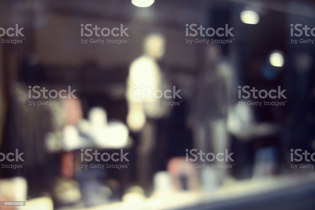 Shop window blurred lights stock photo