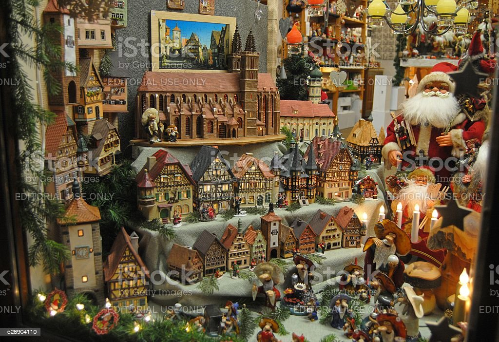 Shop window in Rothenburg ob der Tauber during Christmas stock photo