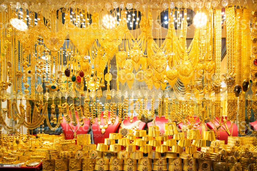 Shop window with jewellers and gold bracelets, Grand Bazaar, Istanbul, Turkey stock photo