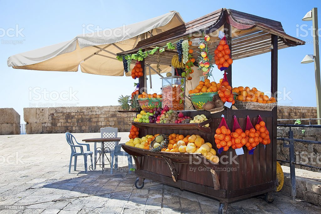 Shop with fresh fruits  juices in Akko,, Israel stock photo