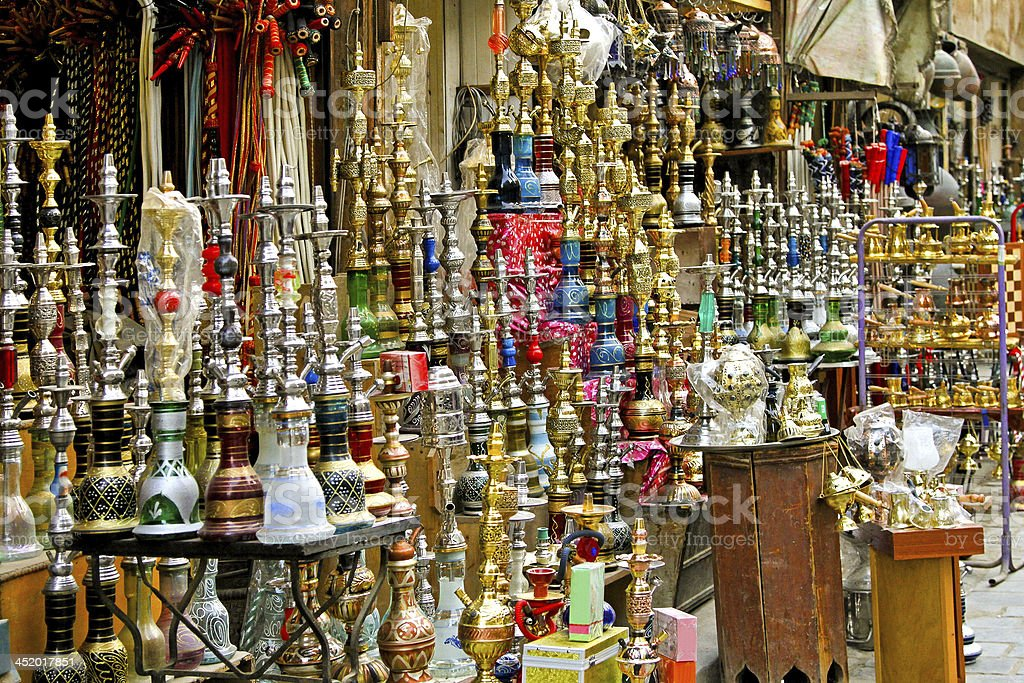 Shop with hundreds of oriental hookah stock photo