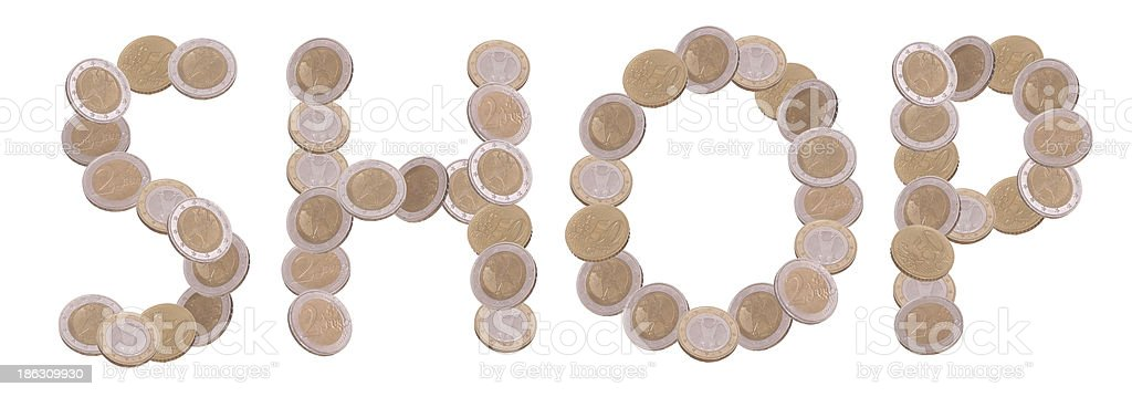 shop - written with coins stock photo